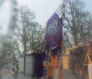 Cadbury's Obey Your Mouth experiential marketing campaign being built in SouthBank by the London Eye