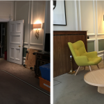 Before and after shot of the set of the Green Room