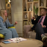 Charlie Hunnam, star of King Athur, and Edith Bowman Virgin Radio breakfast show host sit on the set of The Green Room